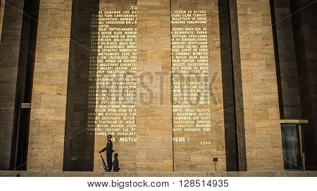 Ankara, Turkey, 25 October, 2012: An honour guard at the mausoleum of Mustafa Kemal Ataturk (Anitkabir) in Ankara