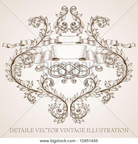 Resumen monograma vintage diseño antiguo y fondo. Parte 4.