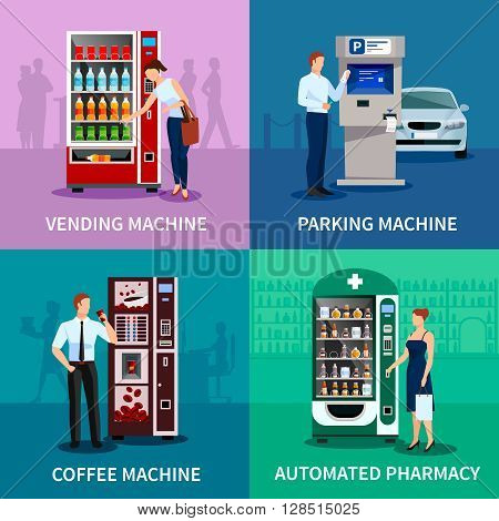 Vending machine concept icons set with parking and coffee machines flat isolated vector illustration