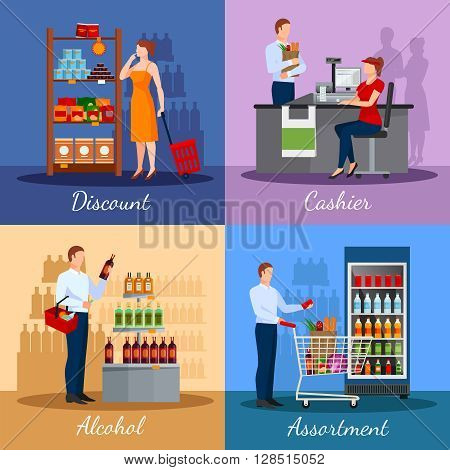 Assortment of products in supermarket with areas discounts and payment isolated vector illustration