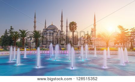 fountain on sultanahmet area in evening time