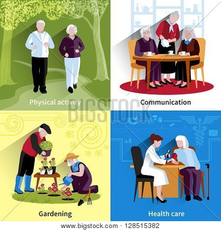 Elderly People Icons Set. Elderly People Vector Illustration. Elderly People Concept. Elderly People Flat Set. Elderly People Decorative Illustration. Elderly People Symbols. People Isolated Set.