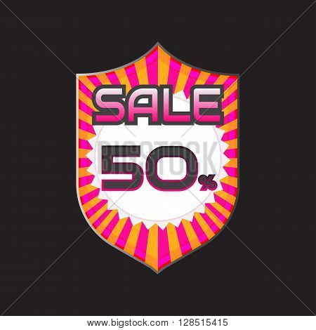 Sale discount labels. Special offer price signs. 50 percent off reduction symbol.