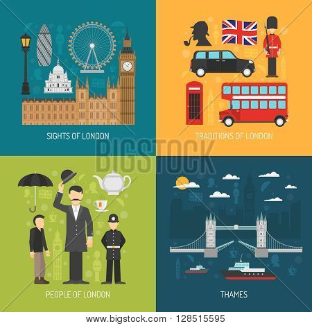 London city symbols landmarks and traditions for travelers 4 flat icons composition banner abstract isolated vector illustration