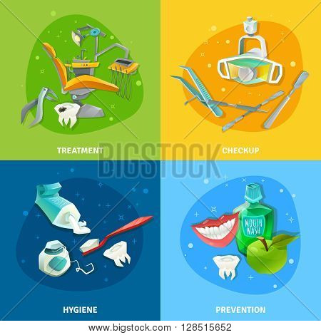 Comprehensive dental care concept 4 flat icons square composition poster with prevention checkup treatment symbols vector illustration
