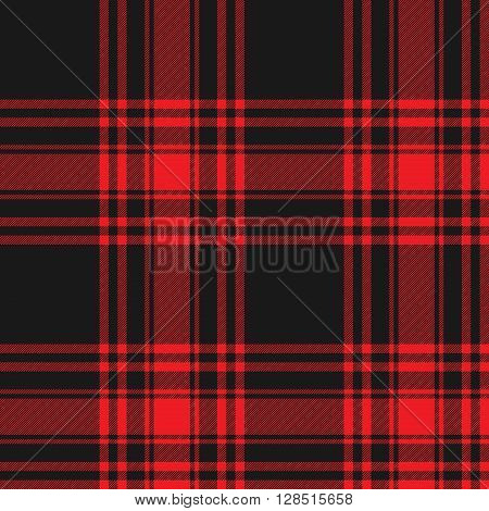 Menzies tartan black red kilt skirt fabric texture seamless pattern.Vector illustration. EPS 10. No transparency. No gradients.