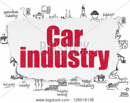 Manufacuring concept: Painted red text Car Industry on Torn Paper background with  Hand Drawn Industry Icons