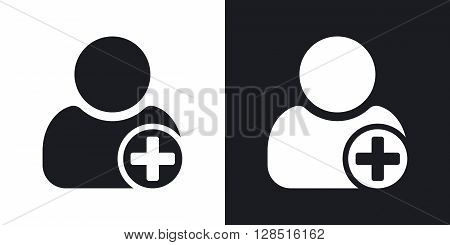 Vector add user icon with plus glyph. Two-tone version on black and white background