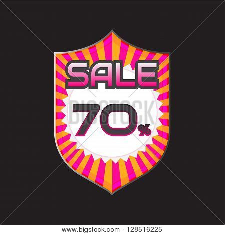Sale discount labels. Special offer price signs. 70 percent off reduction symbol.