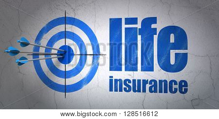 Success Insurance concept: arrows hitting the center of target, Blue Life Insurance on wall background, 3D rendering