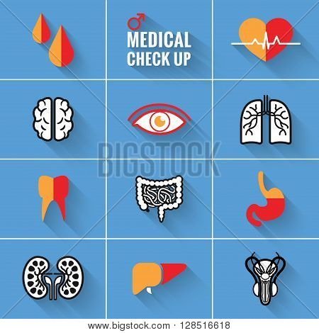 Medical Check Up Icons Set for Man.