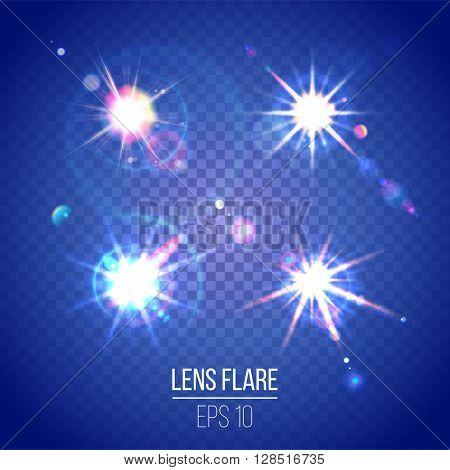 Highly detailed lens flares set on transparent backgrounds