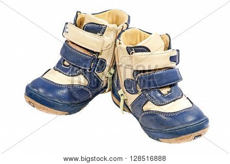 Kid boots taken closeup isolated on white background.