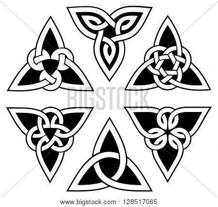 vector celtic trinity knot set, white on black background