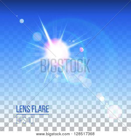 Highly detailed lens flare on transparent background
