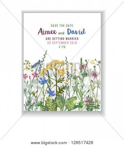 Save the date card with hand drawn colorful herbs and flowers