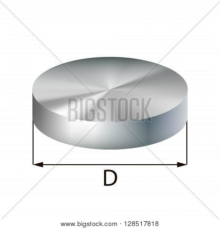 Steel disc industrial metal object. Vector illustration. EPS 10.
