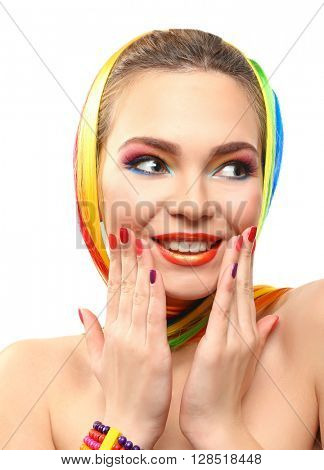 Beautiful girl with colorful makeup, manicure and hairstyle, isolated on white