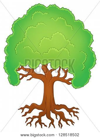 Tree with roots theme image 1 - eps10 vector illustration.