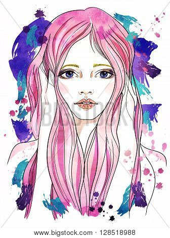 Portrait of a girl with pink hair. Fashion illustration on blue abstract background. Print for T-shirt