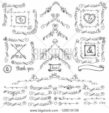 Doodles linear border, dividers, frames and corners, florish decor set.For design templates, invitations and menu.Vintage Hand drawing .For weddings, Valentines day, holidays and birthday.Vector