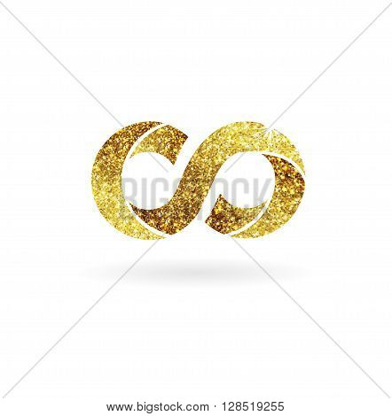 Logo of gold glittering stars . Golden logo, Infinity symbol.