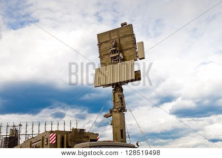 Mobile radar station in russian army against blue sky