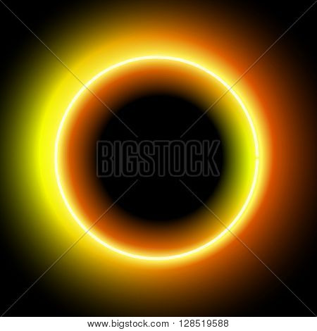 Neon circle. Neon Orange light. electric frame. Vintage frame. Retro neon lamp. Space for text. Glowing neon background. Abstract electric background. Neon sign circle. Glowing electric circle.