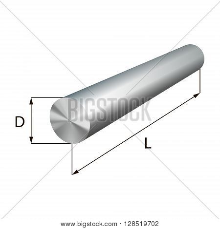Steel round bars industrial metal object. Vector illustration. EPS 10.