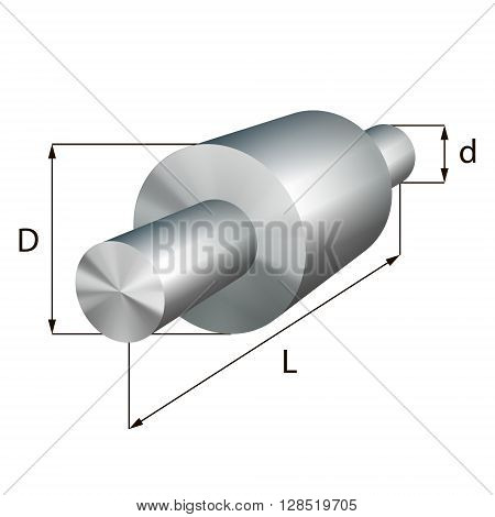 Steel shafts with steps industrial metal object. Vector illustration. EPS 10.