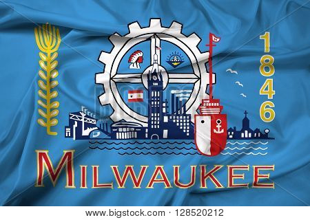 Waving Flag of Milwaukee Wisconsin, with beautiful satin background.