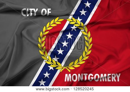 Waving Flag of Montgomery Alabama, with beautiful satin background.