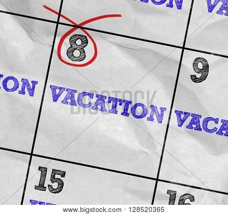 Concept image of a Calendar with the text: Vacation