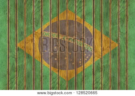 Illustration of the Brazilian flag against a background of wooden panels