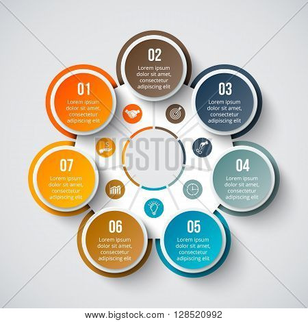 Vector circle element for infographic. Template for cycle diagram, graph, presentation and round chart. Business concept with 7 options, parts, steps or processes. Abstract background.