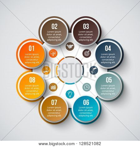 Vector circle element for infographic. Template for cycle diagram, graph, presentation and round chart. Business concept with 8 options, parts, steps or processes. Abstract background.