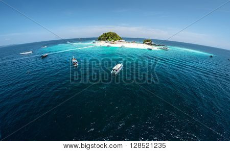 Aerial shot of the tropical island of Koh Khai, Thailand