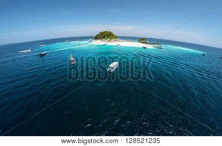 Aerial shot of the tropical island of Koh Khai, Thailand
