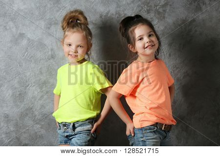 Two stylish little girls on wall background