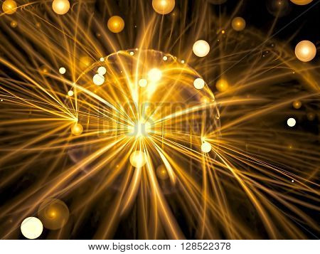Abstract blurred background - computer-generated golden image. Chaos bubbles and curves on a dark background. Fractal artwork for web-design, banners, posters.