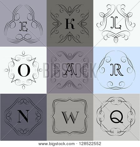 Monogram logo template with  calligraphic elegant ornament. Identity design with letter K, O, A, R, N, W, Q for shop, store or restaurant, heraldic, barbershop or barber, beauty salon, justic lawyer, boutique or hotel
