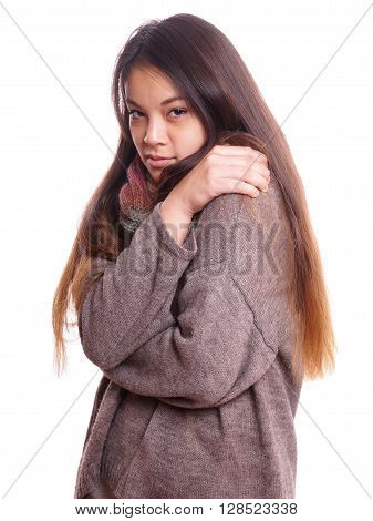 freezing young asian woman wearing wool sweater and scarf