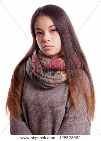 reserved young asian woman with neutral expression