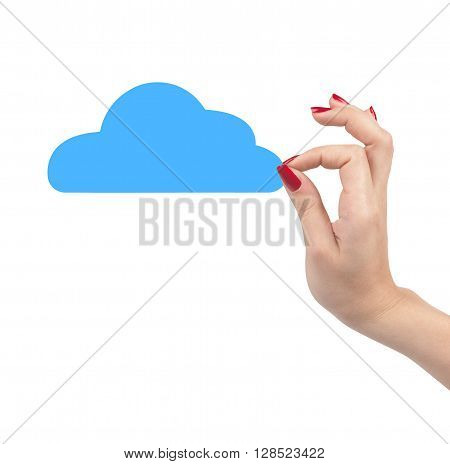 hands holding paper clouds on white background. Cloud computing concept.