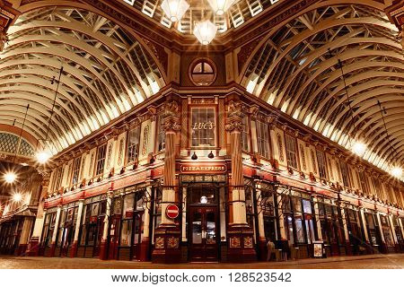 London UK - April 26 2016 - The central interior of Leadenhall Market at night on Gracechurch Street one of the oldest markets in London.