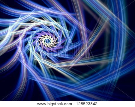 Abstract computer-generated image blue colored spiral on a dark background. Fractal background or graphic desigh element for t-shirt prints, posters, covers.