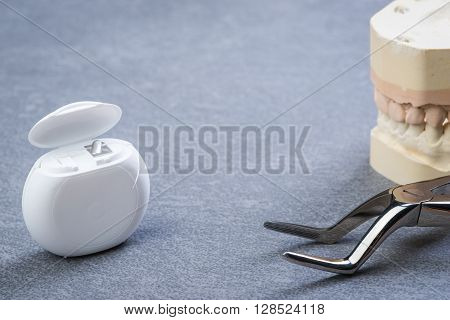 Teeth Mold With Dental Forceps And Floss