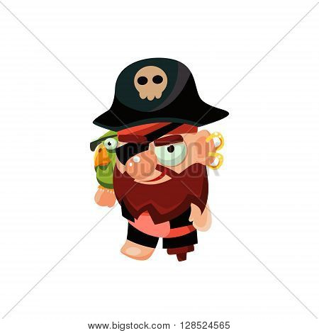 Pirate Captain Colorful Vector Icon In Childish Toy Style Design Isolated On White Background
