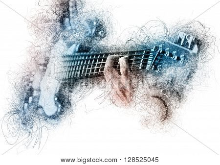Man playing a guitar. Image with a digital effects