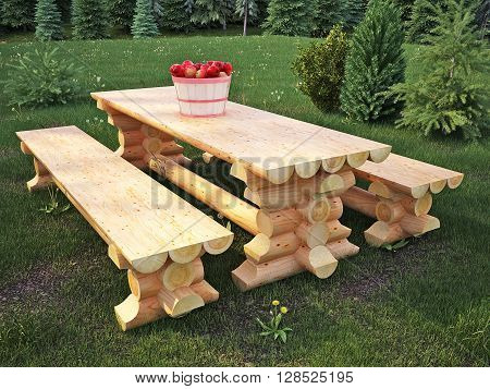 Table and bench made of logs, garden furniture, 3D illustration, 3D render